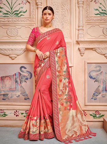 Beautiful Pink Embroidered Silk Saree