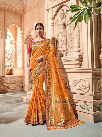 Orange Wedding Wear Silk Saree
