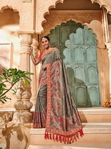 Classic Grey Embroidered Designer Silk Saree