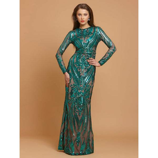 Green Sequin Bodycon Party Long Dress