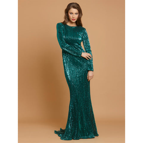 Green Sequins Party Long Dress