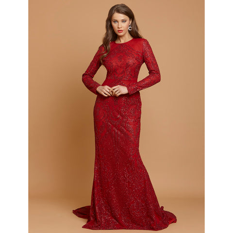 Cocktail Queen Red Glitter Bodycon Long Dress