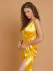 In Style Of Deepika Padukone Yellow Satin Open Back Long Dress