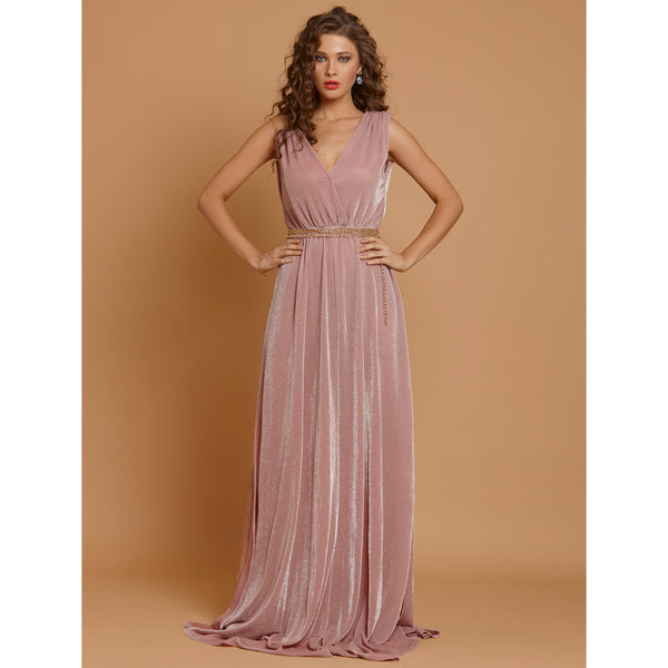 Sexy Pink Glitter Deep V-Neck Metal Chain Maxi Dress