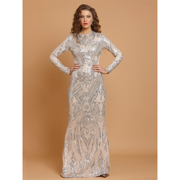 Silver Sequin Bodycon Party Long Dress
