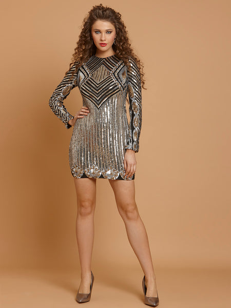 In Style of Sonam Kapoor Geometric Sequins Party Dress