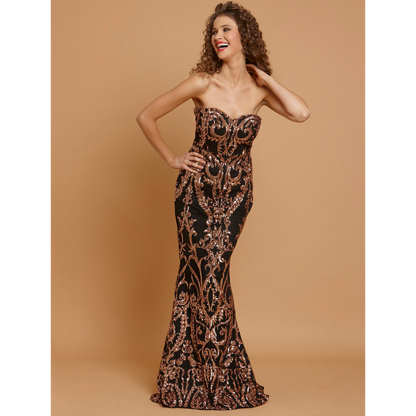 Katrina Sexy Rose Gold Sequin Embellished Floor Length Bodycon Dress