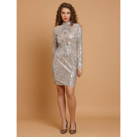 Zingfy Turtle Neck Bodycon Sequin Clubwear Dress