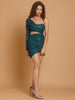 Priyanka Sexy Green One Shoulder Glitter Party Dress