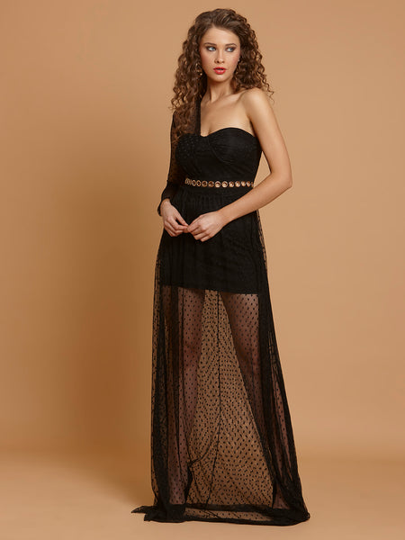 Black Celebrity Style Summer Lace One Shoulder Long Dress