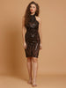 Black Sequin Baroque Pattern Statement Dress
