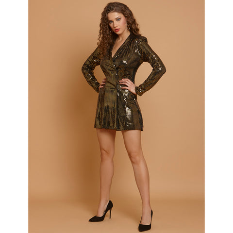 Jacqueline  Gold Sequin Blazer Dress
