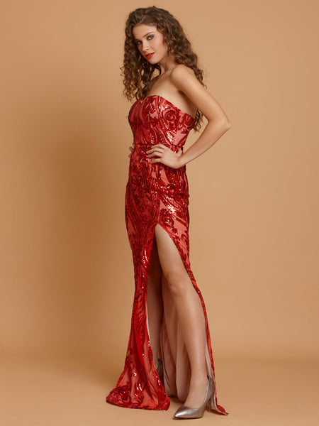 Katrina Sexy Strapless Sequin Bodycon Long Dress-Red