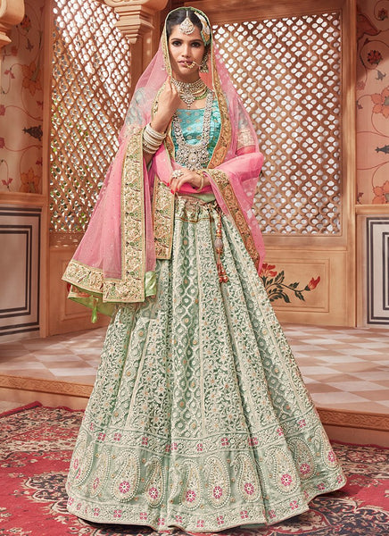 Lucknowi Embroidered Mint Green Lehenga