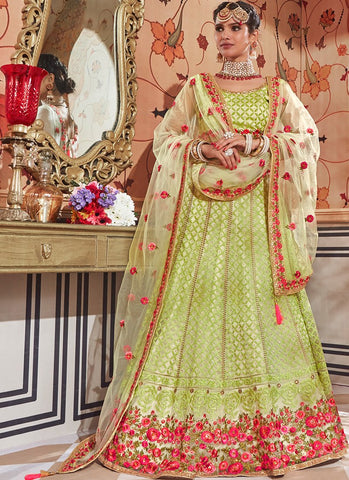 Light Green Floral Embroidered Net Lehenga