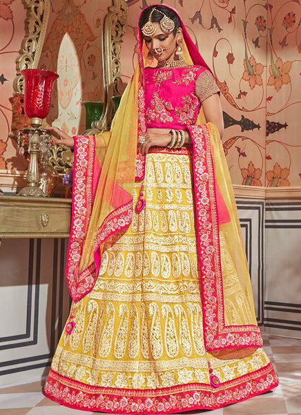 Lucknowi Embroidered Yellow and Hot Pink Lehenga