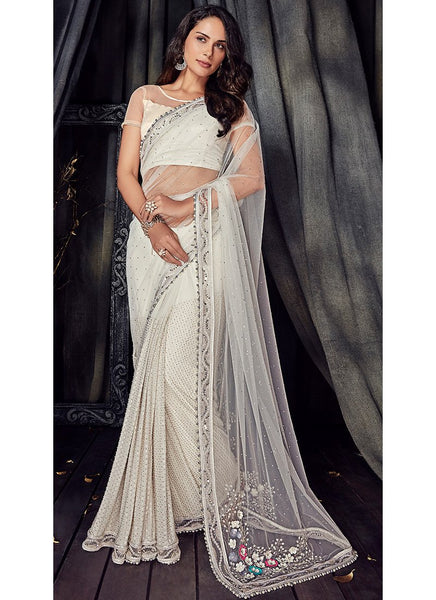 White Pearl Embroidered Net Party Wear Saree