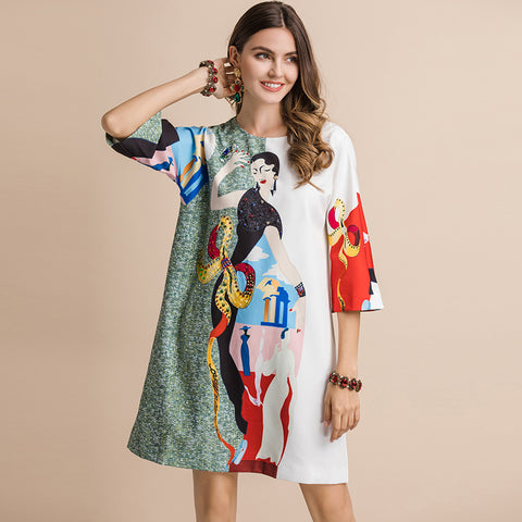 Regina  3/4 Sleeve Sequin Printed Mini Dresses