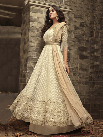 Off-White Resham Embroidered Net Designer Anarkali  Style Salwar Kameez