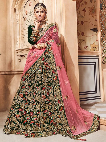 Green Silk Heavy Bridal Lehenga