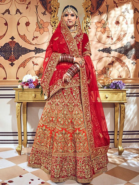 Red And Orange Silk Heavy Bridal Lehenga