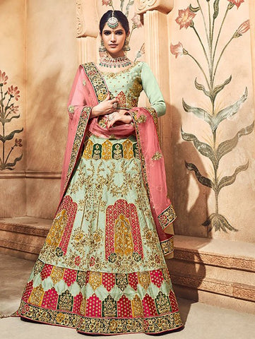 Pista Green Silk Bridal Heavy Lehenga