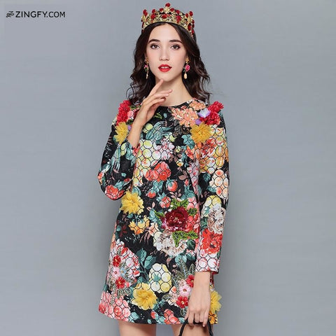 Katy Perry Style Gorgeous Floral Sequin Printed Vintage Dress