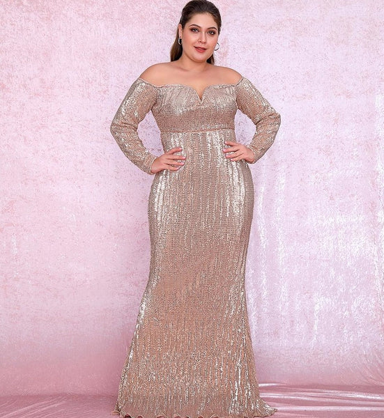 Plus Size Sweetheart Rose Gold Sequin Party Dress