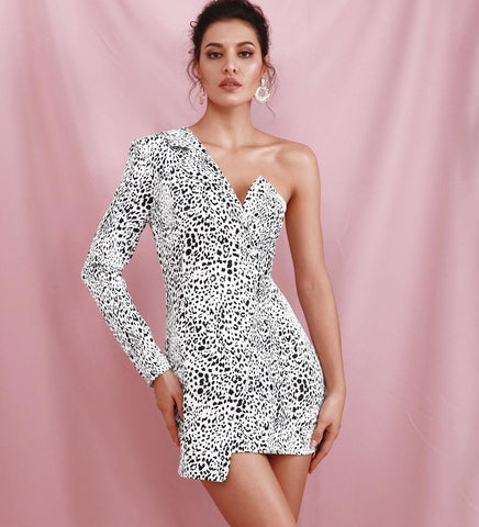 Ida Irregular Cross Leopard Bocycon Party Mini Dress