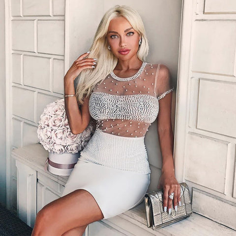 Sexy Sheer Beaded White Bodycon Dress