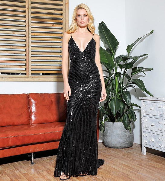 Selema Style Sexy Black Plunge Neck Sequin Long Dress
