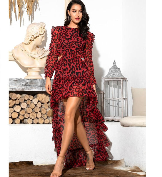 Sexy Cut Out Red Leopard Print Chiffon Dress