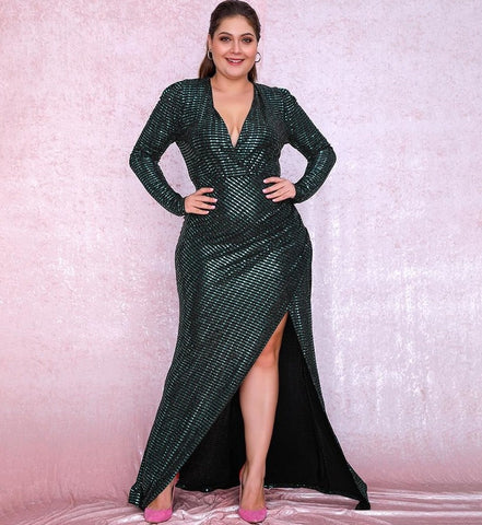 Plus Size Green Sexy Goddess Deep V-Neck Puff Sleeves Sequin Dress