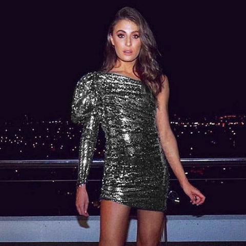 Sexy One Shoulder Sequin Club Dress