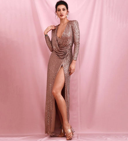 Kareena Style Brown Sexy Deep V-Neck Draped Sequin Bodycon Party Dress