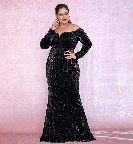 Plus Size Sweetheart Black Sequin Party Dress