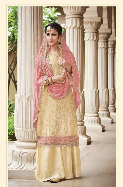 Beige and Pink Party Wear Sharara Style Salwar Kameez