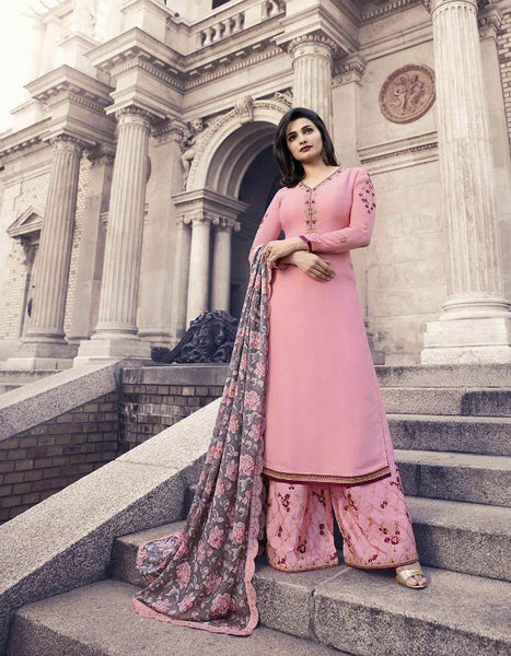 Baby Pink Embroidered Georgette Salwar Kameez