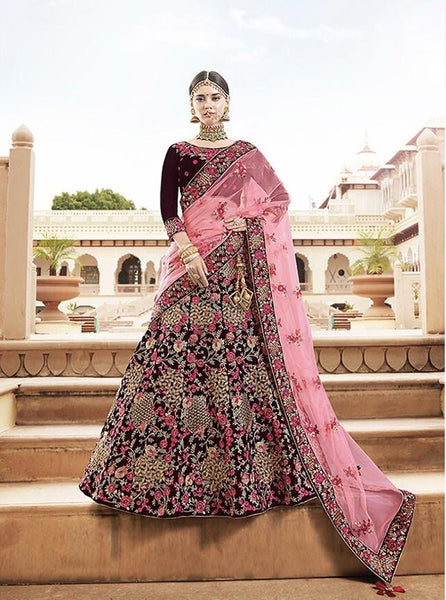 Maroon and Pink Heavy  Embroidery Velvet Designer Lehenga