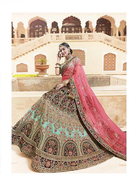 Sea Green Art Silk Heavy Work Designer Lehenga