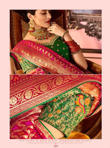 Red and Pink Heavy Silk Wedding Saree