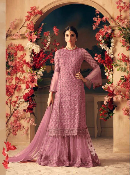 Pink Embroidered Sharara Style Salwar Kameez