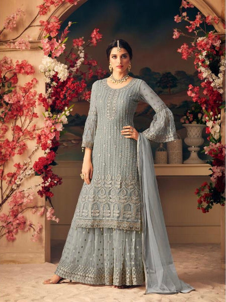Grey Embroidered Sharara Style Salwar Kameez