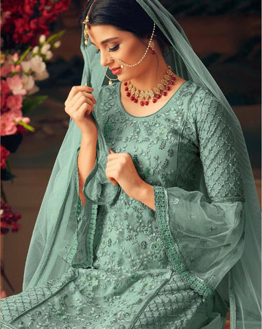 Blue Embroidered Sharara Style Salwar Kameez