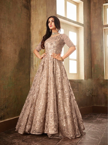 Stunning Cream Party Wear Anarkali Suit