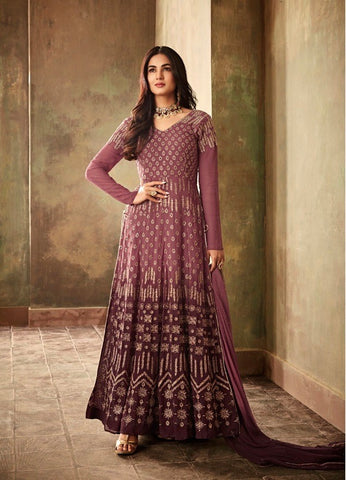 Pink and Purple Party Wear Anarkali Style Suit