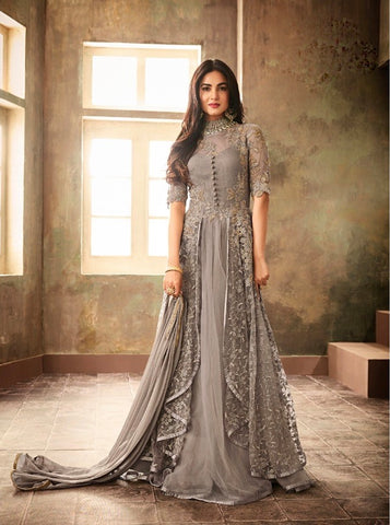 Grey Party Wear Gown Style Anarkali Suit