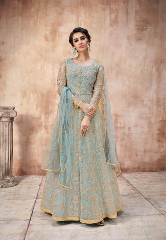 Sky Blue Net Heavy Embroidered Anarkali Style Salwar Kameez