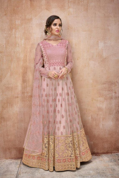 Light Pink Net Heavy Embroidered Anarkali Style Salwar Kameez