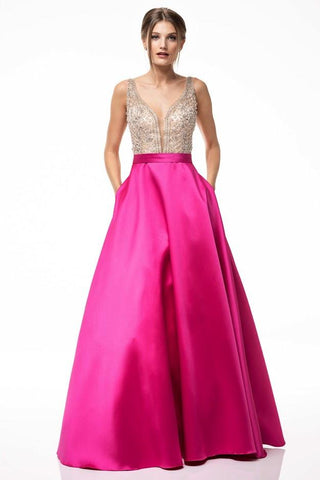Subtle Hot Pink Beaded Gown
